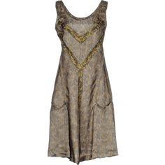 Maison Margiela 1 Short Dress (7,235 CNY) ❤ liked on Polyvore featuring dresses, green, trapeze dress, swing dress, green dress, tent dress and green mini dress