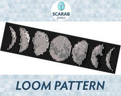 Moon Phases Pattern Loom Bead Bracelet / Cuff by ScarabJewels
