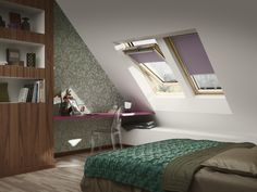 Velux roof window ggl comfort from the cold, heat and provide laminated glazing safety. Bedroom Loft, Home Bedroom, Kids Bedroom, Bedroom Ideas, Window Manufacturers, Roof Window, Window Styles, Loft Spaces, Pool Houses