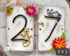 House Number Address Tiles Ceramic Custom by BlueFishStudiosShop, £23.00