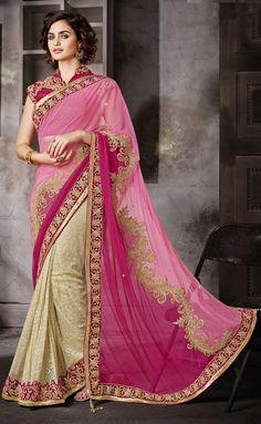 USD 78.7 Pink Net Jacquard Designer Saree 44031