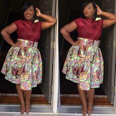 Image of Mint Ankara Blossom Skirt