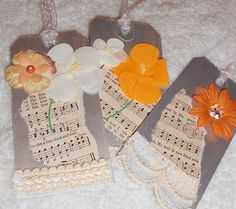 Notes of Spring Gift Tags  Set of 5 by PuddleDuckCottage on Etsy, $5.00