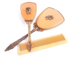 Vintage Vanity Set - Golden Yellow Hair Brush, Hand Mirror, & Comb by MaejeanVINTAGE, $30.00