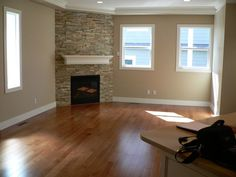 corner fireplace for front living remodel - maybe I can take the wall strait up and do a stone front? I'd lose the ledge on top but we could add a cool mantle as well...hmnn thats an idea!