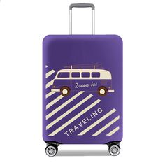 Luggage Cover Geometric Squares Striped Grey Purple Protective Travel Trunk Case Elastic Luggage Suitcase Protector Cover