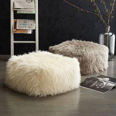 West Elm Faux Mongolian Lamb Pouf Cover, Platinum - Ottomans - Footstools - Stools
