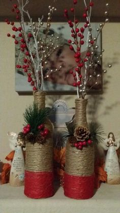 Diy christmas wrapping wine bottles 70 Ideas – Welcome My World Twine Wine Bottles, Wrapped Wine Bottles, Wine Bottle Art, Diy Bottle, Wine Bottle Crafts, Christmas Vases, Christmas Wine Bottles, Christmas Centerpieces, Diy Christmas Gifts