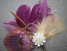 Plum Love  Purple feather hair facinator Clip Comb by PeacockPixys, $39.00