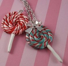 polymer clay lollipop. Tutorial shows it as a necklace, but can be an adorable ornament.  I'd shape in the form of a candy cane (0 calories, no temptations)