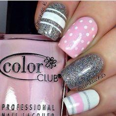 Beautiful nails 2016, Beautiful summer nails, Fashion nails 2016, Gentle summer nails, Grey and pink nails, Manicure by summer dress, Nail art stripes, Pink and silver nails