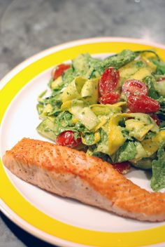Zucchini Ribbons with Avocado Pesto recipe by Enlightened Living Partner Heather Braaten. #food #recipe