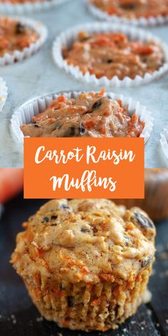 Carrot Raisin Muffins are loaded with shredded carrots, raisins and walnuts add nutty crunch. Muffins are a great served with a morning cup of coffee. Easy Brunch Recipes, Vegan Breakfast Recipes, Easter Recipes, Dessert Recipes, Vegan Breakfast Muffins, Appetizer Recipes, Raisin Muffins, Carrot Muffins, Chocolate Chip Muffins