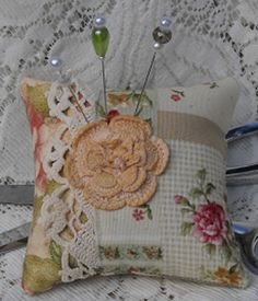 Idea for making a pillow - Pincushion Vintage Lace Fancy Pins Pretty 8.50 by MyEnchantedStudio