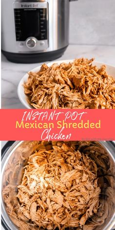 Mexican shredded chicken made in the instant pot. Perfect to put in enchiladas, tacos, over nachos, so versatile! #instantpot #shreddedchicken