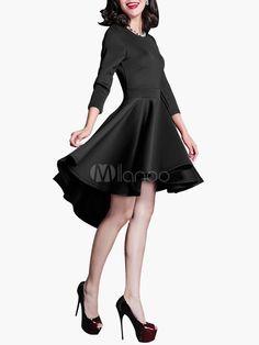 3/4 Length Sleeve High Low Flared Dress - Milanoo.com