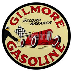 Gilmore Racing Gasoline, 18 x 18 Aged Style Large Aluminum Metal Sign, USA Made Vintage Style Retro Garage Art by HomeDecorGarageArt on Etsy Garage Logo, Garage Art, Vintage Racing, Vintage Cars, The Breaker, Style Retro, Vintage Style, Raster To Vector, Porcelain Signs