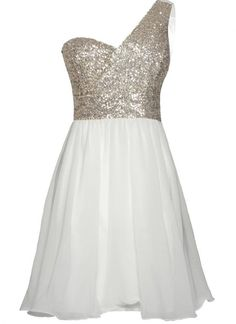 4919f8dd54ca7 White One Shoulder Dress with Sequin Top Chiffon Skirt White Chiffon