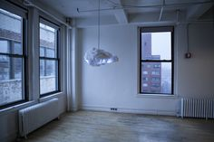 really-shit:  The Cloud by Richard Clarkson is an interactive lamp and speaker system, designed to mimic a thundercloud in both appearance a...