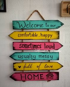 Rustic vintage Welcome to our 🏡 adding a dash of colors to your decor . Have your wall filled with amazingly quirky rustic handpainted wooden planks ❤❤❤❤❤❤ . Size :- around 28 inches length . Ethnic Home Decor, Natural Home Decor, Indian Home Decor, Diy Home Crafts, Craft Stick Crafts, Home Room Design, Home Decor Furniture, My New Room, Paint Designs