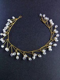 Wedding gold Headband Crystal Vine Long Hair Wedding Twig hair Crystals gold vine Bridal Delicate headpiece Crystal tiara wedding hair vine Perfect for brides! It is light weight and very much flexible. Decorative part is quite flexible and it can be bended easily for right fit. There are little loops on each end to pin in your hair, but I can also add narrow ribbons in the back to tie like a wreath. Will be carefully packed for shipping. Before placing your order, carefully read the shop...
