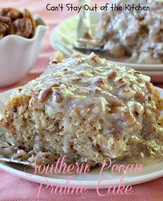 Southern Pecan Praline #Cake recipe loaded with pecans and #coconut and drizzed with a sweet Butter Pecan Glaze