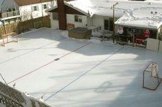 Now THAT'S a backyard ice rink! Backyard Hockey Rink, Backyard Ice Rink, Roller Skating, Ice Skating, Figure Skating, Hockey Mom, Ice Hockey, Hockey Stuff, Hockey Decor