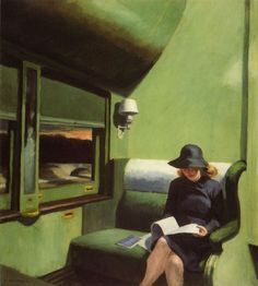 Compartment C, Car 293, Edward Hopper (1938) I find myself drawn to women alone with their thoughts on a journey of their own choosing. MT