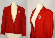 1970s Pendleton Lipstick Red Fitted Blazer by KrisVintageClothing, $37.00