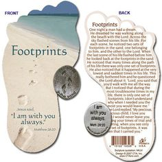 Footprints in Sand bookmark card and pocket coin.