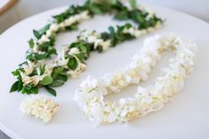 White Floral wedding leis