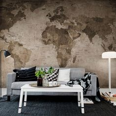 World map brown brown walls wall murals and wallpaper world map wallpaper mural 405x270cm sepia achica gumiabroncs Choice Image