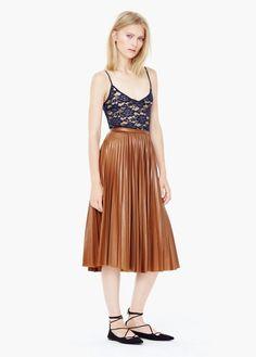 Falda midi plisada   MANGO