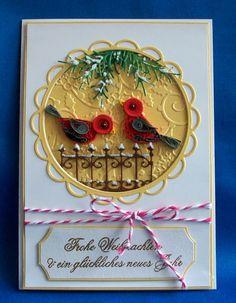 http://quilling-krapp.de/ Quilling und Karten by Raissa Krapp  тиснение, вырубка,  трафарет Stanzschablone,   новый год, рождество, Weinachten, квиллинг, geburtstag, день рождения, квиллинг, Vogel, pregeschablone,  открытка