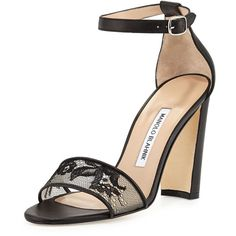 Manolo Blahnik Lauratop Lace Chunky-Heel Sandal ($437) ❤ liked on Polyvore featuring shoes, sandals, black, black strappy sandals, strap sandals, black sandals, black chunky heel sandals and black ankle strap sandals