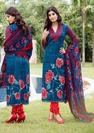 Casual Wear Blue Pashmina Printed Churidar Suit
