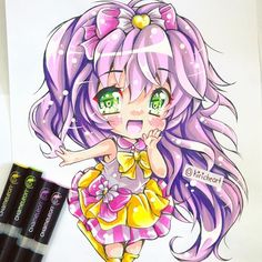 @kiricheart here is another of their amazing and very adorable manga chibi illustrations, done with the Chameleon Pens.
