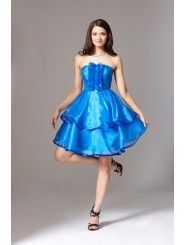 Organza Strapless Neckline A-Line Skirt Pleated Cocktail Dress