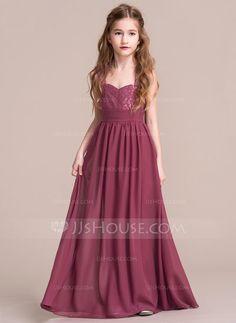 A-Line/Princess Sweetheart Floor-Length Ruffle Zipper Up Regular Straps Sleeveless No Other Colors General Chiffon Junior Bridesmaid Dress