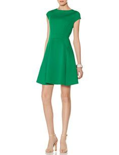 Cap Sleeve Fit & Flare Dress from THELIMITED.com #TheLimited #Green #Dress #DressUp #OnlineExclusive