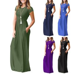 2018 Summer Women Loose Casual Short-Sleeve Long Maxi Party Dress Beach Sundress | Clothes, Shoes & Accessories, Women's Clothing, Dresses | eBay!