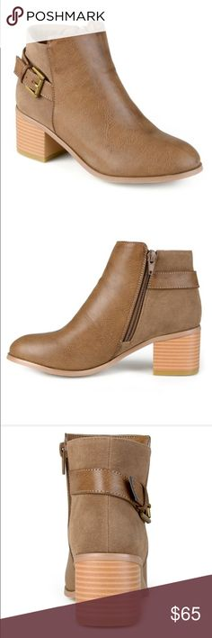 NWT!!! Taupe Journee Booties The perfect taupe/tan booties that literally go with everything!!! They are super comfortable yet stylish and have the perfect heel height to walk around all day. They have great buckle detailing and a slightly pointed toe. Brand New and still in the box!!!! Journee Collection Shoes Ankle Boots & Booties