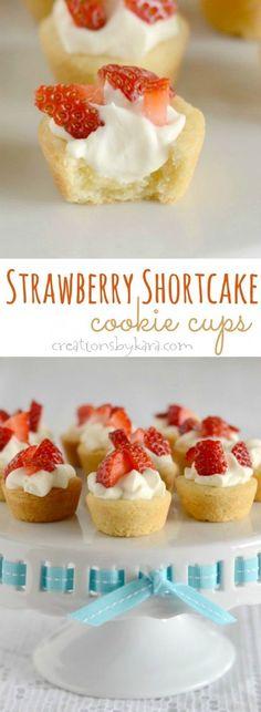 No one can resist these Strawberry Shortcake Cups. Such a fun way to serve strawberry shortcake! -from creationsbykara.com #strawberries #strawberryshortcake #cookiecups #strawberrydessert