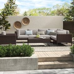 Sol 72 Outdoor™ Merlyn 11 Piece Sectional Seating Group with Cushions | Wayfair Outdoor Sofa Sets, Outdoor Seating, Outdoor Furniture Sets, Outdoor Decor, Pool Furniture, Furniture Ideas, Outdoor Living, Modular Sectional Sofa, Sofas