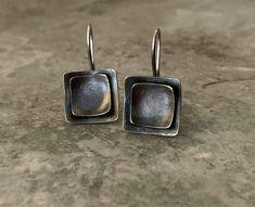 Small Earrings, Copper Earrings, Turquoise Earrings, Oxidized Sterling Silver, Sterling Silver Earrings, Leaf Pendant, Metal Jewelry, Vintage Items, Handmade Items