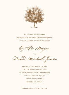 Under The Oak Invitation on White Eggshell (cream) | Free Spirit Invitations