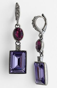 Givenchy Silver Crystal Drop Earrings