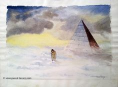 HAPPY NEW YEAR CESTIUS - watercolors and pencil on paper by Pascal Lecocq The Painter of Blue  25 x 32.5cm 8x12 Lec181a 1987 available. pascal lecocq #cestius #pyramid #Rome #art #blue #painterofblue #painting #painter #artist #contemporaryartcurator #artstack #artcartridge #artcollectae #glarify #theartdex #in #pint.