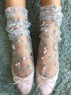 Handmade Tulle Socks - One size - Hand wash in cold water lay flat to dry Sheer Socks, Lace Socks, Ankle Socks, Floral Socks, Floral Tights, Fashion Socks, Looks Vintage, Ballerinas, Cute Shoes