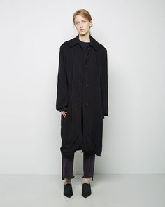 $1,555, Black Trenchcoat: Vetets Rayon Macintosh Trench. Sold by La Garçonne. Click for more info: http://lookastic.com/women/shop_items/106847/redirect